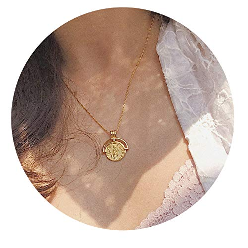 VACRONA Gold Coin Pendant Necklaces,18K Gold Filled Circle Engraved Vintage Disc Special Coin Dainty Handmade Necklaces for -