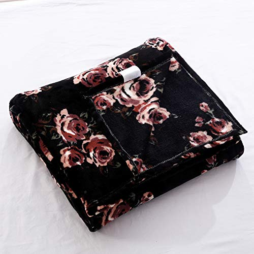 Flannel Throw Blanket for Sofa Couch Bed Black Flower Printed Blanket Soft Lightweight Cozy Throw Plush Blanket Black Rose Throw All Season Blanket Throw Throw for Kids Adults (Black Rose, Twin)