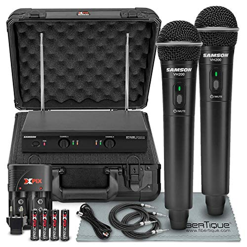 (Samson Stage 200 - Dual-Channel Handheld VHF Wireless System (Channel D) W/ Deluxe Accessory Bundle and Hard Equipment Case + 2 X ¼