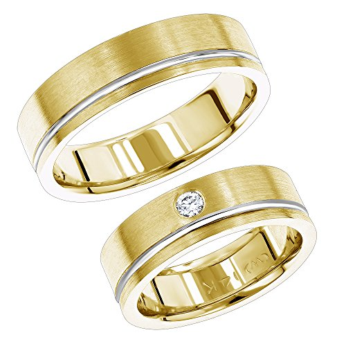 14K Gold Two-Tone His and Hers Diamond Wedding Bands Set 0.07ctw G-H color (Yellow, Size 5.5) (His And Her Diamond Wedding Rings)