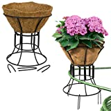 Plastec (2-Pack) Coco Garden Plant Stand & Hose Guide Outdoor Standing Planter 12 Inch Flower Holder