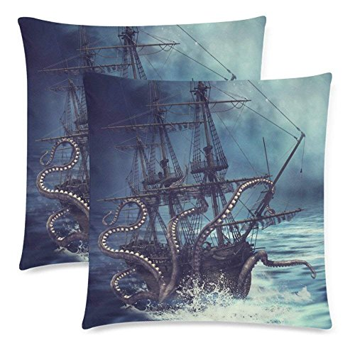SPXUBZ Octopus Sea Monster Night Scene with a Pirate Ship Pillow Cover Home Decor Nice Gift Square Indoor Pillowcase Set of 2 (Two -