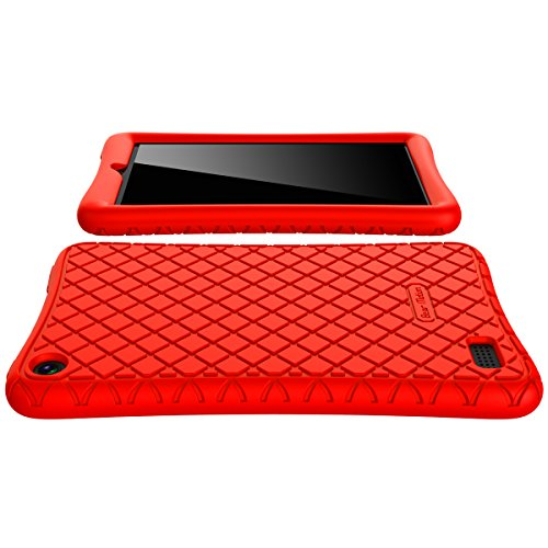 Large Product Image of Bear Motion Case for All-New Fire 7 Tablet with Alexa - Anti Slip Shockproof Light Weight Kids Friendly Protective Case for Amazon Kindle Fire 7 2017 (ONLY for 7th Generation 2017 Model) (Red)