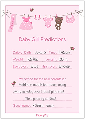 30 Baby Shower Prediction and Advice Cards for the Baby Girl (30 Pack) - Baby Shower Games Decorations Activities Supplies Invitations by Papery Pop (Image #2)