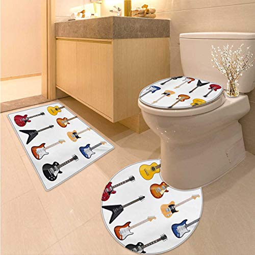 Guitar 3 Piece Toilet mat Set A Wide Variety of String Instruments Realistic Musical Pattern Jazz Blues Acoustic 3 Piece Shower Mat Set Multicolor ()