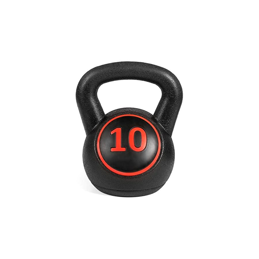 Best Choice Products 3 Piece Fitness HDPE Kettlebell Weights Set w/Base Rack Black