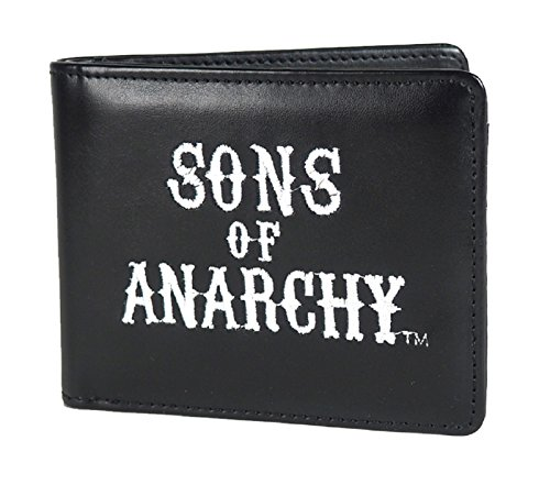 Anarchy Wallet (Sons Of Anarchy Wallet Embroided Logo Official Black Bifold Faux Leather)