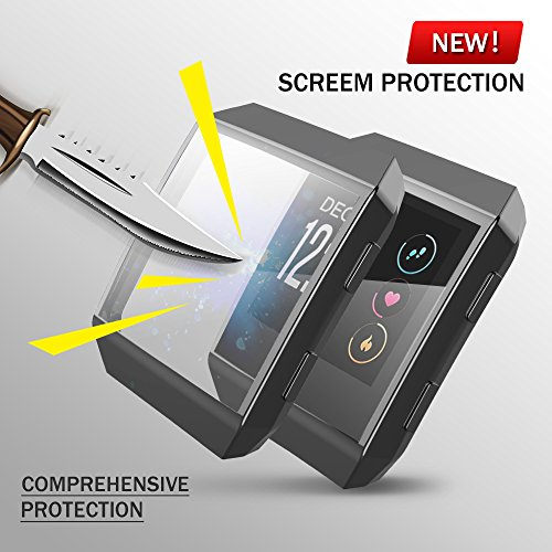 Fitbit Ionic Watch protect Case,Omni-directional Protect Screen Soft TPU Ultra-thin HD Clear Cover for Fitbit Ionic smart Watch (clear+black) by ZRXS (Image #3)