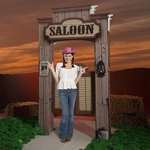 (Shindigz Western Cowboy Saloon Entrance Party Prop Photo Booth Background Backdrop Decoration Decor Scene Setter)