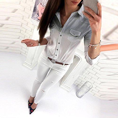 Down Chemise Boutons Femme Shirt Unie Chemisier XL Rose Blouse lgant et T Longue Chic S Printemps Couleur Automne Manche Col Turn Casual Top O7qwvxE0