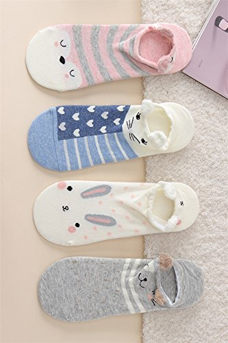 Generic Three pairs of stereo equipment Japanese cute cartoon animal socks cotton socks shallow mouth socks women girls lady Korean by Generic