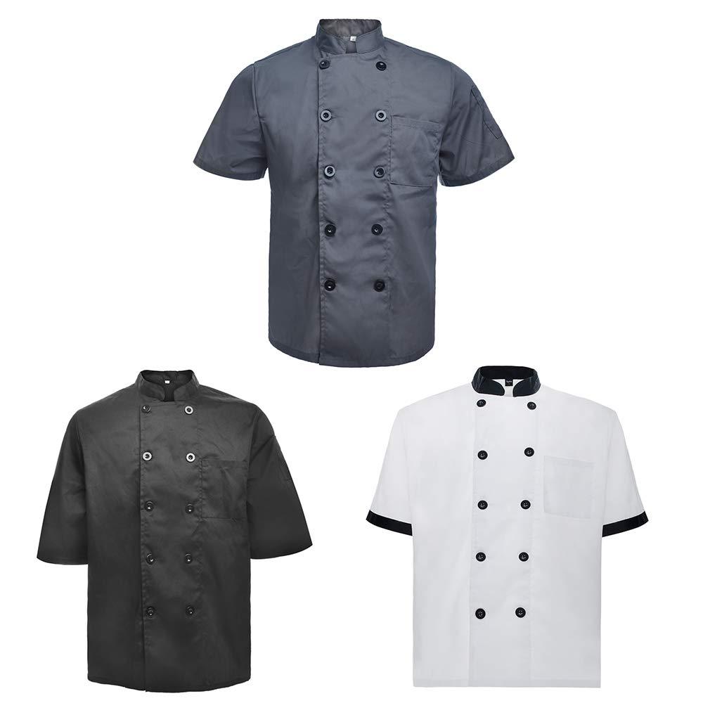 TopTie 3 Pack Men & Women Short Sleeve Chef Coat Jacket-SET5-M