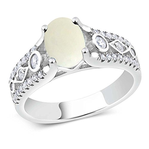 1.61 Ct Cabochon White Simulated Opal 925 Sterling Silver Engagement Ring (Size 9)