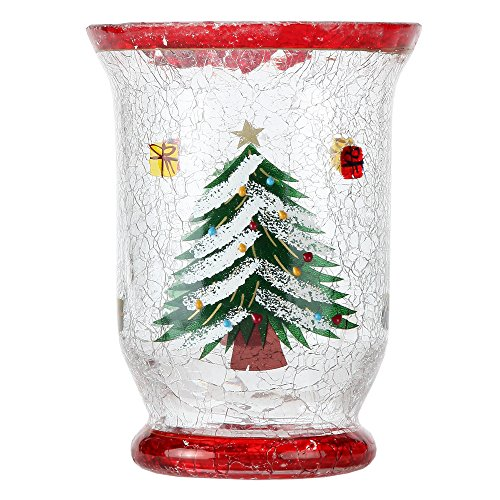 Christmas Tree Votive Holder - Home-X Christmas Tree Crackle Glass Candleholder