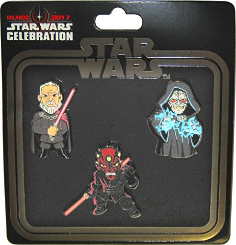 Star Wars Celebration 2017 Orlando Exclusive Emperor Palpatine / Darth Maul / Count Dooku Sith Set of 3 Enameled Metal Cloisonné Pins
