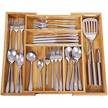 High Quality SONGMICS Bamboo Cutlery Tray Expandable Utensil Organizer Flatware Drawer  Dividers Kitchen Storage Organizer UKAB801
