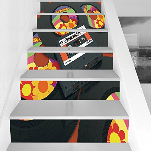 Stair Stickers Wall Stickers,6 PCS Self-adhesive,70s Party Decorations,Compact Cassette and Some Vinyl Records with Seventies Text Oldschool Decorative,Multicolor,Stair Riser Decal for Living Room, Ha ()