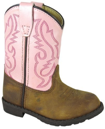 Smoky Children's Kid's Toddlers Brown Distress and Pink Leather Western Cowboy Boot -