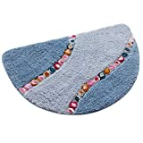Exttlliy Superfine Fiber Half Round Mat Floor Rug Doormat with Colorful Floral for Bedroom Playroom Toilet (Small, Light Blue)