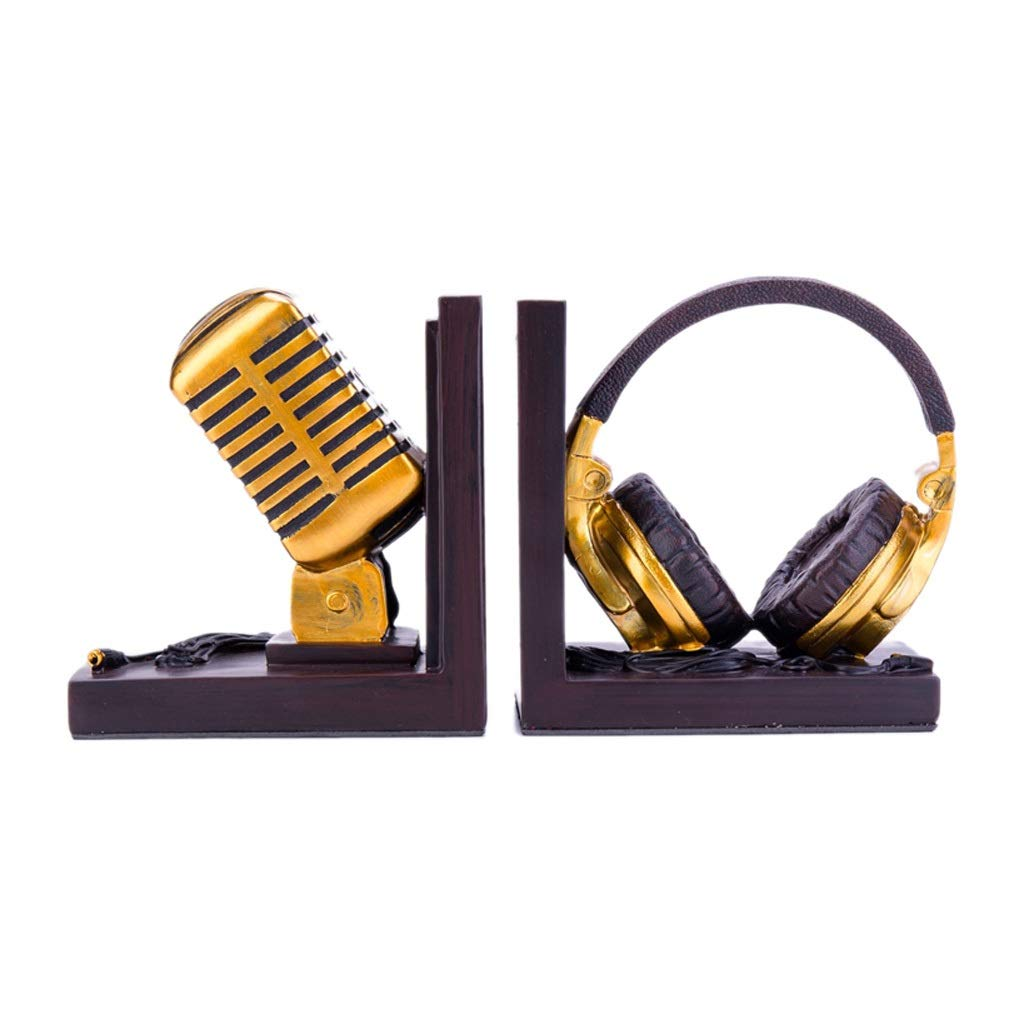 Xilin-shop Bookends Nonskid Headphone Microphonebookends Music Lover 6 Inch Art Bookend by Xilin-shop
