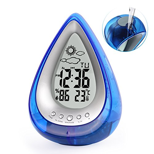 Alarm Clock, Water Power Weather Station, Eco-Friendly and Hydrodynamic Water Powered Digital Clock with Humidity, Time Display and Temperature Measurement for Bedrooms Living Room Kitchen Office