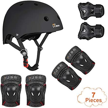 JBM 4 Sizes Extra Pads Diamond Curved Series Full Protective Gear Set Multi Sport Helmet, Knee and Elbow Pads with Wrist Guards, for Biking, BMX, Scooter, Skateboard, Inline Skating and Others