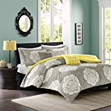 Intelligent Design Tanya Full/Queen Size Bed Comforter Set - Grey Yellow, Damask – 5 Pieces Bedding Sets – Ultra Soft Microfiber Bedroom Comforters