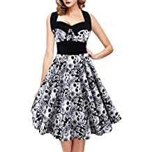 Geckatte Women's Vintage Skull Print Halter 1950s Retro Cocktail Dress Plus Size Floral Print Dresses
