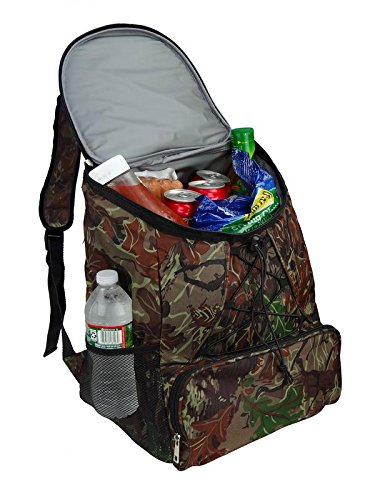 Large Padded Backpack Cooler - Fully Insulated, Leak and Water Resistant, Adjustable Shoulder Straps, Extra Storage Pockets - Camo - by GigaTent by GigaTent (Image #5)