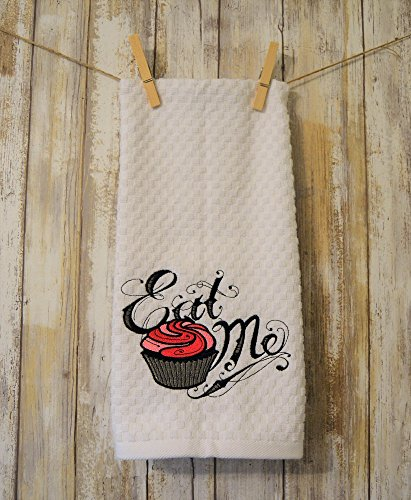 Cupcake Embroidered Kitchen Towel , Eat -