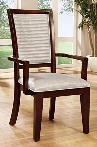 Furniture of America Lagos Contemporary Dining Arm Chair, Set of 2 (Kitchen Chair With Arms)