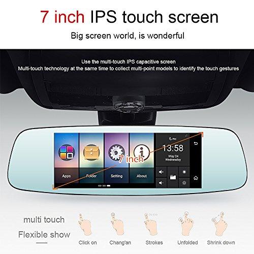 junsun 4G 7'' Dash Cam Car Camera DVR GPS Bluetooth Dual Lens Rearview Mirror Video Recorder Full HD 1080P Automobile DVR Mirror by junsun (Image #2)