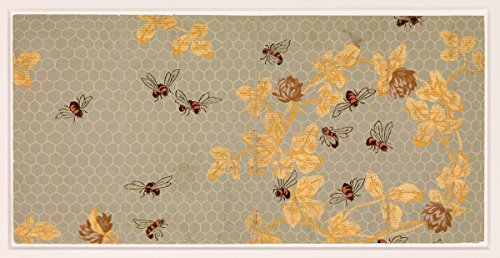 Wallpaper Bees with Honeycomb | Artist: Candace Wheeler| Created: 1881 | Antique Vintage Fine Art Poster Print Reproduction 1881 Poster Print
