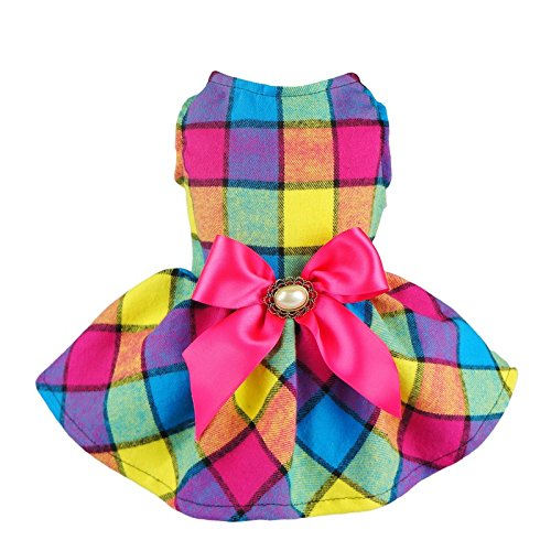 Fitwarm Vintage Plaid Pet Clothes Dog Dress Ribbon Dog Vest Shirts Apparel, Small