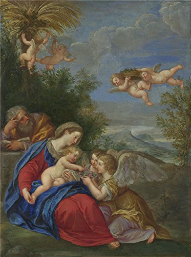 Oil Painting 'Rest On The Flight Into Egypt Francesco Albani' 18 x 24 inch / 46 x 61 cm , on High Definition HD canvas prints is for Gifts And Laundry Room, Nursery And Powder Room Decoration, rolled