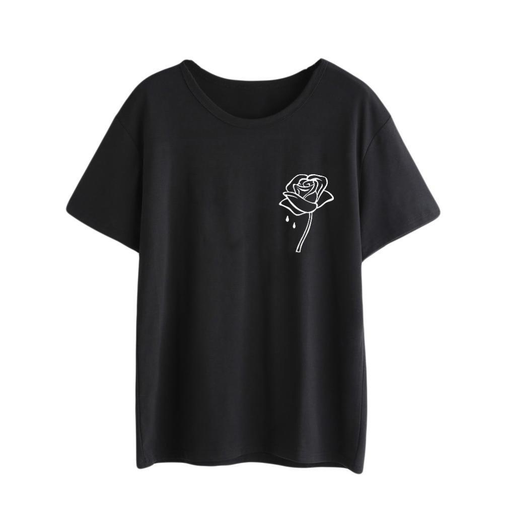 FALAIDUO Women Fashion Cute Rose Flower Print Short Sleeve T Shirt Tank Crop Tops Vest Blouse Summer Clothes