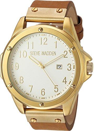 Steve Madden  Men's Oversize Nail Head Watch Gold/Brown Watch