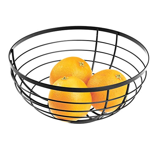 InterDesign Austin Metal Wire Fruit Bowl Centerpiece for Kitchen and Dining Room Countertops, Tables, Buffets, Refrigerators, 10.53″ x 10.53″ x 4.85″, Matte Black