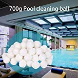 qiguch66 White Luster Eco-Friendly Filter Media for Swimming Pool Sand Filters ,Alternative to Sand and Filter Glass, Filter Media Water Purification Fiber Ball(700g)