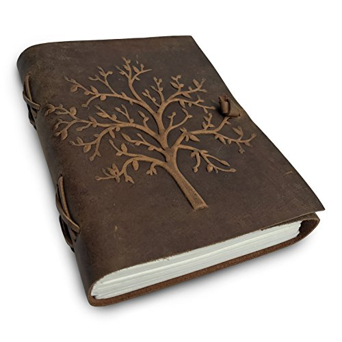 LEATHER JOURNAL Tree of Life - Writing Notebook Handmade Leather Bound Daily Notepads For Men & Women Blank Paper Large 8 x 6 Inches - Best Gift for Art Sketchbook, Travel Diary & Journals to Write in