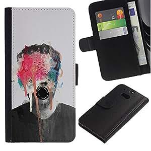 A-type (Pintura abstracta del arte del monstruo Foto Hombre) Colorida Impresión Funda Cuero Monedero Caja Bolsa Cubierta Caja Piel Card Slots Para HTC One M8