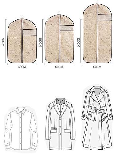 衣服カバー 不織布15は、媒体+ 5の衣類および衣服ストレージバッグスーツコートを移動ファスナー大型透明窓を備え+ 5 * * *少量が設けられているカバー (Color : Beige, Size : L+M+S)