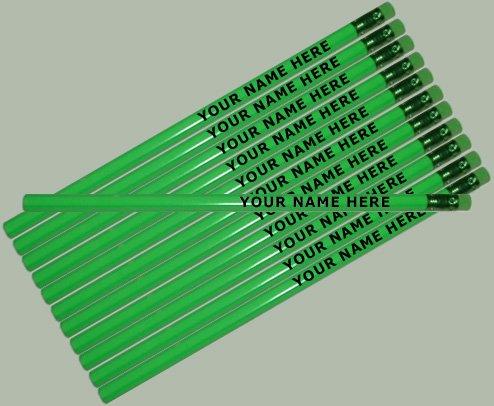 Customized Pencils - ezpencils - Personalized Neon Green Hexagon Pencils - 12 pkg - ** FREE PERZONALIZATION **