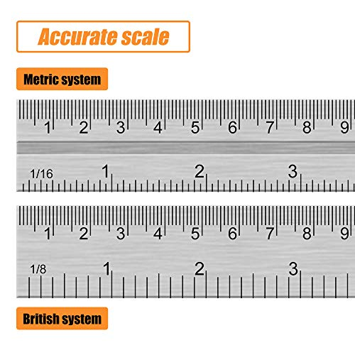 "BEETRO Zinc Alloy Combination Square Ruler, Right Angle Stainless Steel Inch/Metric Measuring Ruler, 1pc 300mm (12"")"