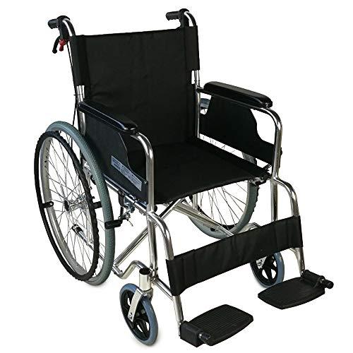 Mobiclinic, Palacio, Silla de ruedas plegable, ortopedica, autopropulsable para ancianos y minusvalidos, aluminio, freno en manetas, reposapies y reposabrazos extraibles, asiento, ultraligera, negro
