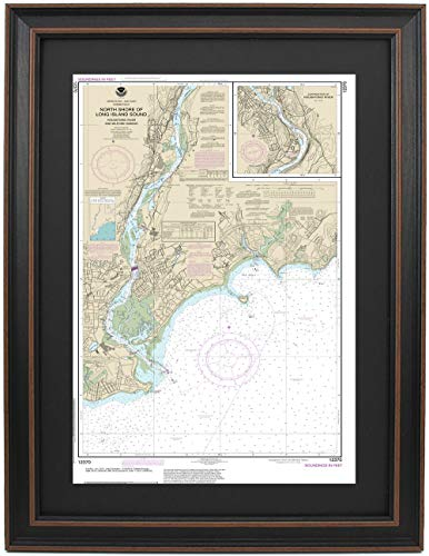 Patriot Gear Company | Framed Nautical Map 12370 : North Shore of Long Island Sound; Houstatonic River and Milford Harbor- Standard Size