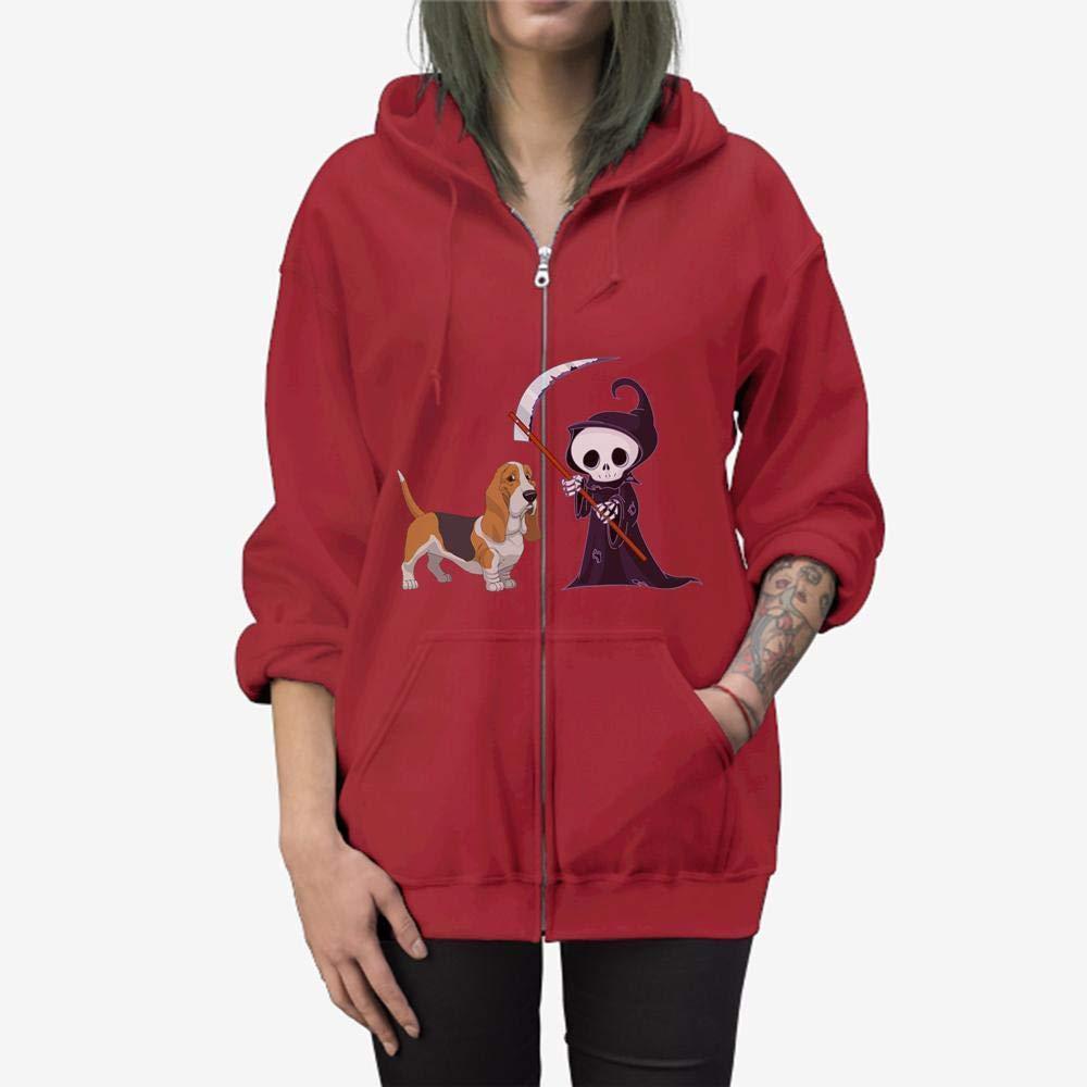 Doryti Basset Hound Grim Reaper Halloween Zip Hooded Sweatshirt