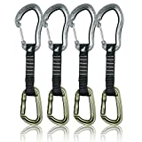Fusion Climb 4-Pack 12cm Tactical Military Rescue Quickdraw Set with Techno Zoom Wire Gate Gray/Contigua Straight Gate Green Carabiners