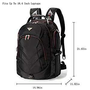FreeBiz 18.4 Inches Laptop Backpack Fits up to 18 Inch Gaming Laptops for Dell, Asus, Msi,Hp (Black) from FreeBiz