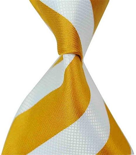 de21743ba9c4 Men's Classic Gloden Orange Striped Necktie Jaquard Woven Silk Tie Neck Ties